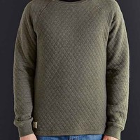 Native Youth Quilted Crew Neck Sweatshirt- Olive