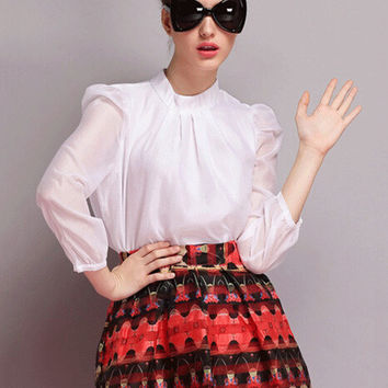 Long Sleeve Funnel Collar Chiffon Blouse
