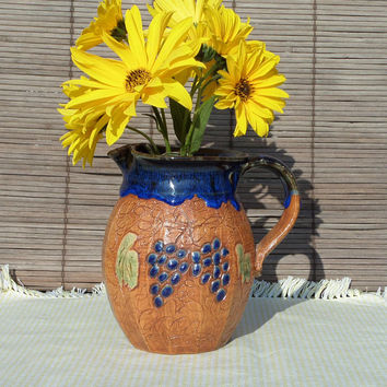 Seagrove Pottery Pitcher, Brown with Blue Grapes / Grapevine  by Rockhouse Pottery,  North Carolina, Ken Poole, Carolyn Poole