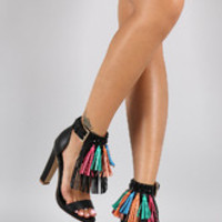 Women's Privileged Gemstone Tassel Fringe Open Toe Heel