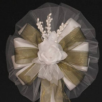 Moss Green White Rose Floral Wedding Pew Bows