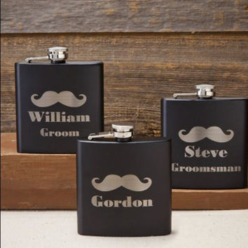Personalized Black Matte Mustache Flask / Groomsmen Gift / Groom Gift / Wedding gift / Gift for Men / Gift for Dad