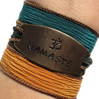Namaste Wrap Bracelet Yoga Jewelry Silk Fall Autumn Om Bohemian Ohm Unique Gift For Her or Him Christmas Stocking Stuffer Under 50 Item Z45