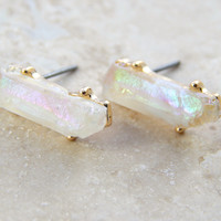 Iridescent White Stud Earrings