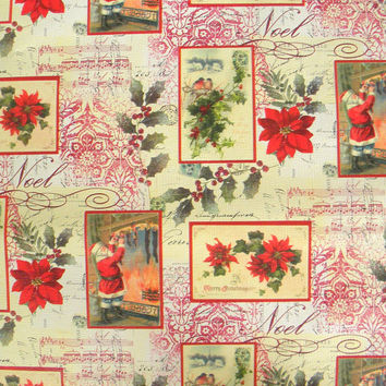 Victorian Christmas Postcard Wrapping Paper, 10 ft x 2 ft. Roll, Luxurious Embossed Heavy Paper, Featuring Red Poinsettias, Santa and Birds