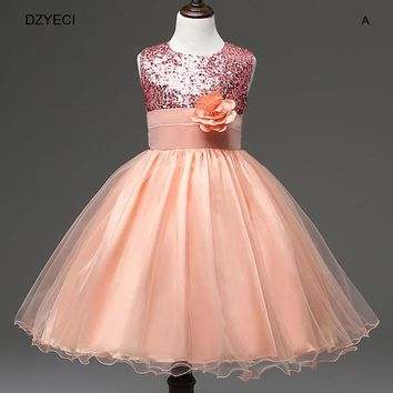 Flower Girl Dress For Children Deguisement Sequins Lace Princess Costume Kid Teenage Carnival Ball Gown Bow Fancy Prom 10 11 12T