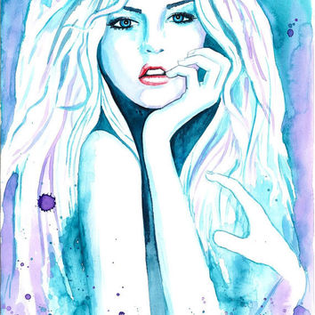 Original Watercolor Fashion Illustration Modern Art Painting tittled Azure Shining