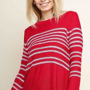 Striped Knit Pullover Sweater - Red