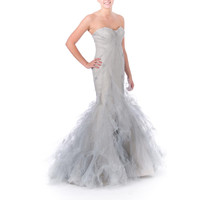 Zac Posen Womens Hand-Painted Strapless Formal Dress