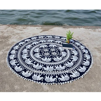 Elephant Ethnic Towel Beach Printed Sunbath Towel Beach Yoga Mat