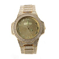 HIP HOP ICED OUT RAONHAZAE YG LUXURY GOLD FINISHED LAB DIAMOND WATCH X2