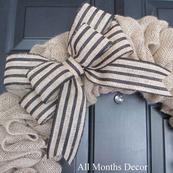 Striped Burlap Bow, Black or White Color Choices, Wreath Bow, Wedding, Floral Bow, Spring, Easter, Year Round, DIY Projects, Multipurpose