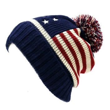 Winter Vintage Stars Stripe Knit USA Flag Beanie Skull Ski Pom Pom Hat Cap