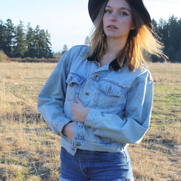 Vintage 90's Faded Denim Button Up Jacket