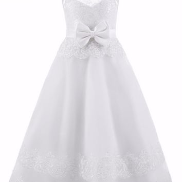 New Arrival Peagant Scoop Neck Appliques Lace Flower Girls Dresses for Wedding Ribbon Bow Sash First Communion Dresses for Girls