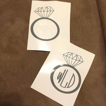 Diamond Ring Decal Girls Ring Monogrammed Engagement Ring Vinyl Monogram Personalized Decal Bridal Party Engagement Bride