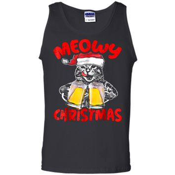Funny Meow Drinking Beer Cat  Christmas Gift Tee Tank Top