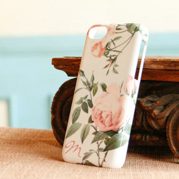 Rose Pattern iPhone 5S Case Monogram, Pink Rose iPhone 4 Case, Floral iPhone 5, Pretty iPhone 5C Case