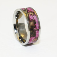 Pink Camo Wedding Ring - Titanium Wedding Band - Camo Ring - Birthday Gift