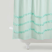 HARBOR BLUE RUFFLE SHOWER CURTAIN