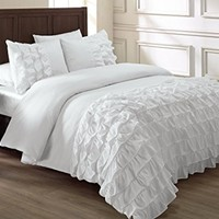 Chezmoi Collection Ella 2-piece Ruffle Comforter Set Twin, White