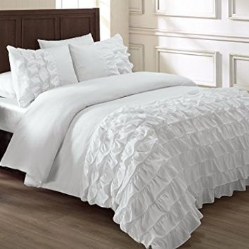 Chezmoi Collection Ella 3-piece Ruffle Comforter Set Full, White