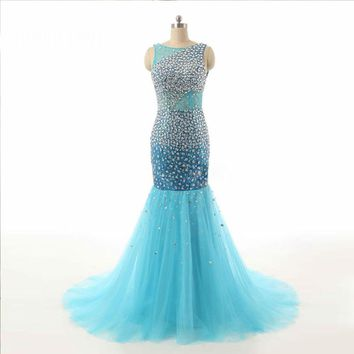 Sky Blue Sexy Scoop Neck Tulle Sleeveless Open Back Long Evening Dresses Floor Length Evening Gowns