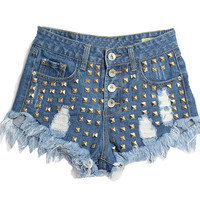 Dark Blue Riveted Ripped Denim Shorts