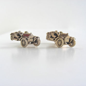 Classic Racing Car Gold Cuff Links - Vintage
