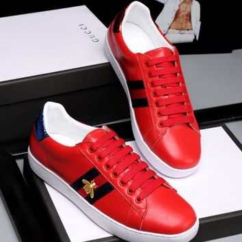 Gucci:Trending Fashion Casual Running Sports Bee Embroider Shoes Red G
