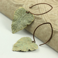 Olive Earrings Green Leaf Rustic Brass by AbacusBeadCreations