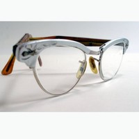 50s Universal cat eye glasses with a brushed aluminum