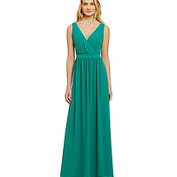 Belle Badgley Mischka Surplice Gown - Emerald