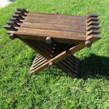 Medieval Style Folding Wooden Chair