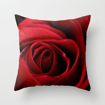 Rose Pillow Red Romantic Bedroom Decor Decorative Throw Pillow Cover Floral Cushion Cover Aurora Red Handmade in Canada 30 x 30 Pillow