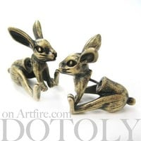 3D Fake Gauge Realistic Bunny Rabbit Animal Stud Earrings in Bronze