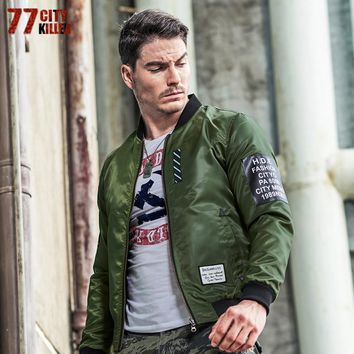 Pilot Air Force Bomber Jacket Smile Jacket for Men On Both Sides Wear Army Green Military Jackets Coats