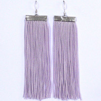 Fringe Earrings. Light Lilac Earrings. Dangle Long Earrings