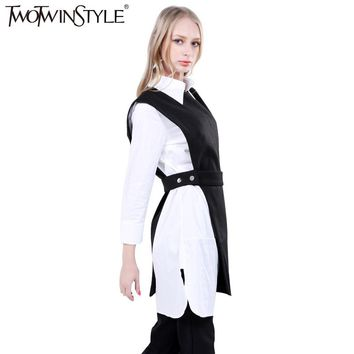 TWOTWINSTYLE Women Sleeveless Long Vest Coat Waist Bandage Asymmetrical Female Tank Clothes Korean Fashion Casual