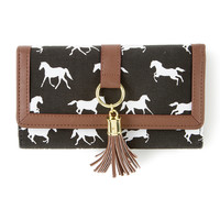 Horse Print Trifold Wallet with Tassel