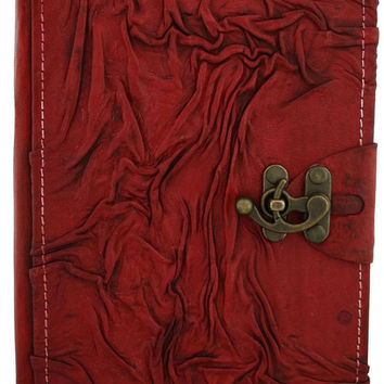 6x9 Red Wrinkle Leather Journal with Latch