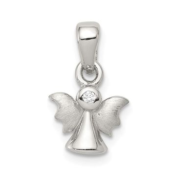 925 Sterling Silver Polished and Satin Cubic Zirconia Angel Shaped Pendant