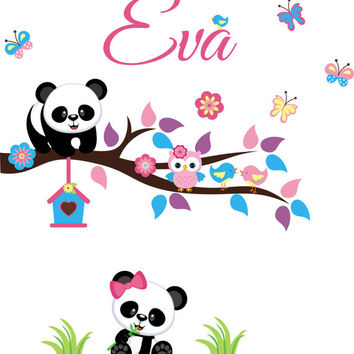 "Panda Bear Wall Decal, Panda Bear Stickers, Nursery Wall Decal, Nursery Panda Wall Art, Monogrammed Wall Decal, Girls Wall Decal - 50"" x 40"""