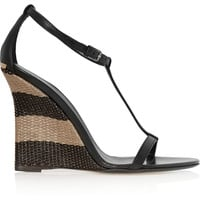 Burberry Shoes & Accessories - Leather and raffia wedge sandals