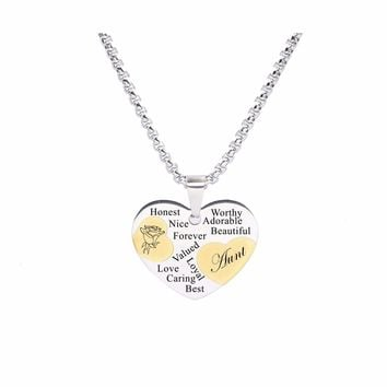 Two Tone Solid Stainless Steel Heart Pendant Necklace By Pink Box - Aunt