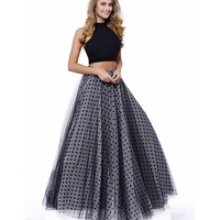 Preorder -  Black Two Piece Polka Dot Tulle Ball Gown 2016 Prom Dresses