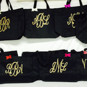 6 Large Monogram /Name Personalized Totes Beach Bags, Poolside Bag, Bridesmaid Gifts, Cheer, Dance, Wedding Gifts Beach Bags, Glitter Tote