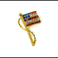 Small American Flag Brooch, Red White Blue Rhinestone Brooch, Pride in USA, Patriotism, American Pride, 4th of July, Support Our Troops