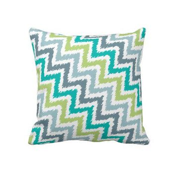 Blue Gray Green Zigzag Ikat Pattern Throw Pillow from Zazzle.com