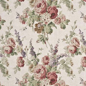 Mulberry Fabric FD264.W46 Vintage Floral Rose/Green